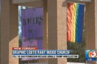 "The church now has a flag reading ""Lovers in a Dangerous Time"" next to their pride flag."