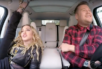 Madonna and James Corden doing carpool karaoke