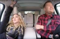 Madonna and James Corden doing carpool karaoke