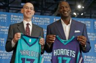 NBA commissioner Adam Silver and Charlotte Hornets owner Michael Jordan announcing the site of the 2017 All-Star Game.