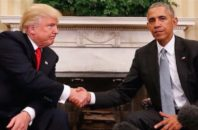Donald Trump and President Barack Obama shake hands after a meeting at the White House.