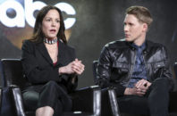 """Mary-Louise Parker, left, and Dustin Lance Black speak at the """"When We Rise"""" panel at the Disney/ABC portion of the 2017 Winter Television Critics Association press tour on Tuesday, Jan. 10, 2017, in Pasadena, Calif."""