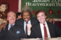 "FILE - In this December 1987 file photo, Donald Trump, right, pictured with his father, Fred Trump, left, and boxing promoter Don King participate in news conference in Atlantic City, N.J. Many of President-elect Donald Trump's cultural touchstones, which he'd frequently namedrop at campaign rallies and on Twitter, including Don King, were at their peak in the 1980s, the decade that Trump's celebrity in New York rose, Trump Tower was built, ""The Art of the Deal"" was published and he first flirted with running for public office."