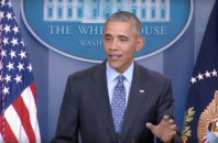 Barack Obama during his final press conference as president.