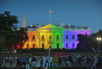 "FILE - In this Friday, June 26, 2015 file photo, people gather in Lafayette Park to see the White House illuminated with rainbow colors in commemoration of the Supreme Court's ruling to legalize same-sex marriage in Washington. It was a new look for the White House: illuminated in rainbow colors to celebrate the Supreme Court decision allowing same-sex marriage nationwide. President Barack Obama, who was inside, felt the glow on that June night in 2015. To see people gathered in the evening outside on a beautiful summer night, and to feel whole and to feel accepted, and to feel that they had a right to love _ that was pretty cool,"" he said a few days later."