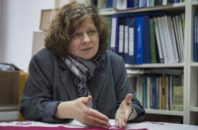 In this photo taken on Wednesday, Jan. 18, 2017, Activist Alyona Popova speaks to the Associated Press at her home in Moscow, Russia. Popova, whose online petition against the bill to decriminalize domestic violence has attracted more than 180,000 signatures, sees the efforts to decriminalize this as a continuation of the Kremlin's increasingly aggressive policy abroad as well as at home after several repressive laws targeting various groups, from foreign-funded NGOs to gay people.
