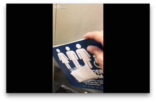 Watch Patriotic Miscreant Tears Down Gender Neutral Bathroom - Gender neutral bathroom signs