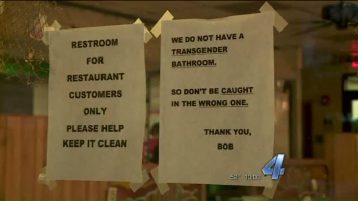 Bathroom Signs Restaurant restaurant posts transphobic, threatening bathroom sign / lgbtq nation