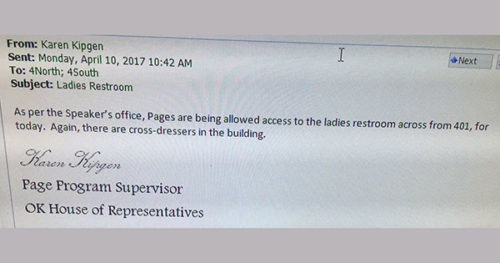 Oklahoma House staffer email about bathrooms causes uproar