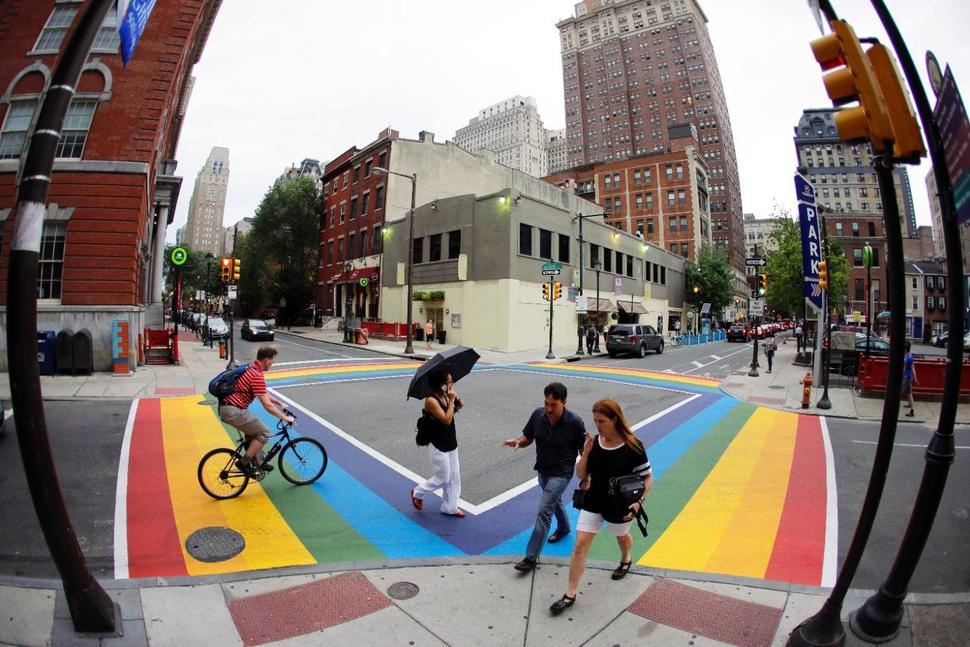 Philadelphia rainbow crosswalk