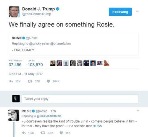 Trump Rosie tweets Comey