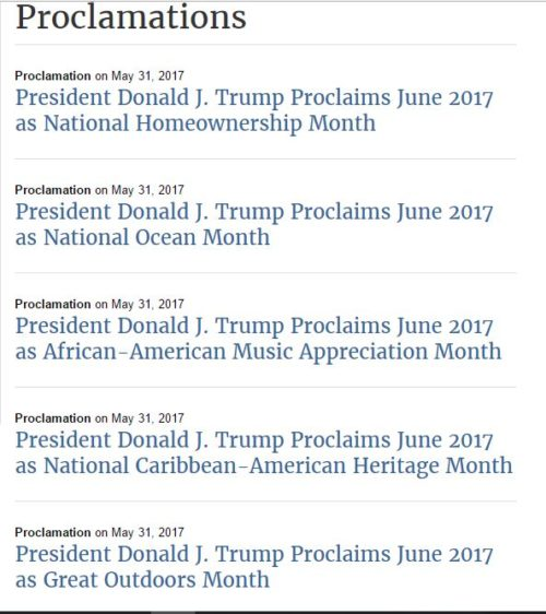 White House June proclamations
