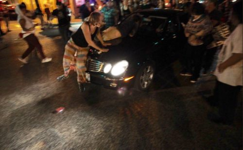 Auto hits demonstrators following vigil in south St. Louis
