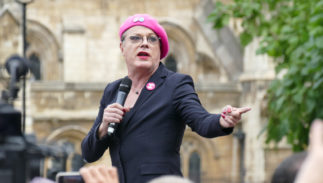 Comedian Eddie Izzard addresses a packed Parliament Square at the Rally For Europe in September 2016.
