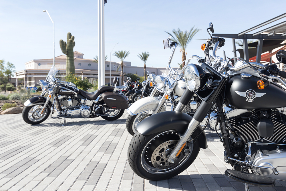 December 10, 2016: Harley Davidson bikes on square in Scottsdale, AZ