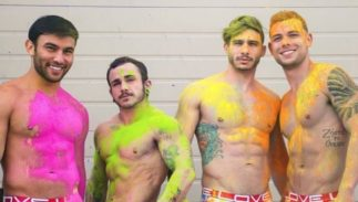 Jesse Diamond surrounded by other Andrew Christian underwear models