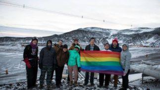 McMurdo Station staff display pride flag on Antarctica.