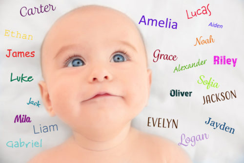Baby surrounded by potential names