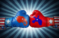 Republican versus Democrat as two boxing gloves with the elephant and donkey symbol stitched on the sides.