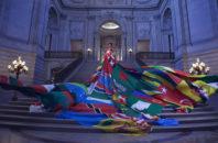 The Amsterdam Rainbow Dress, photographed inside San Francisco City Hall
