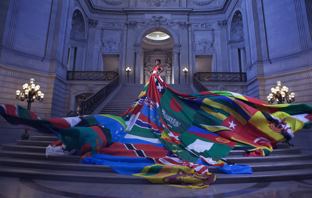 The Amsterdam Rainbow Dress, photographed inside San Francisco City Hall