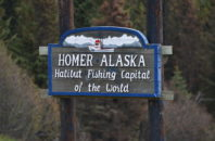 Welcome sign for Homer, Alaska
