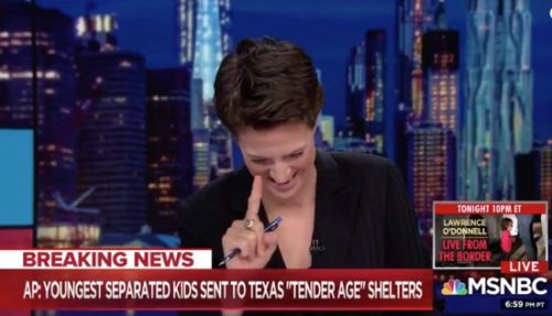 "MSNBC anchor Rachel Maddow broke down in tears on-air reporting about President Trump's ""tender age"" facilities to house stolen migrant children."