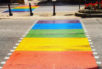 """A rainbow crossing has replaced the traditional """"zebra stripes"""" in Malta."""