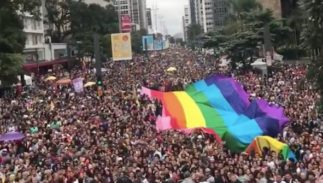 Millions of revelers stream down the streets in Sao Paulos pride parade.