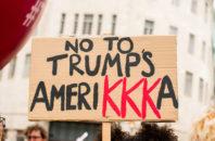 "Protest sign reading ""No to Trump's Amerikkka"""