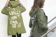 "Side by side showing Melania Trump's jacket and the slogan ""I really don't care. Do U?"""