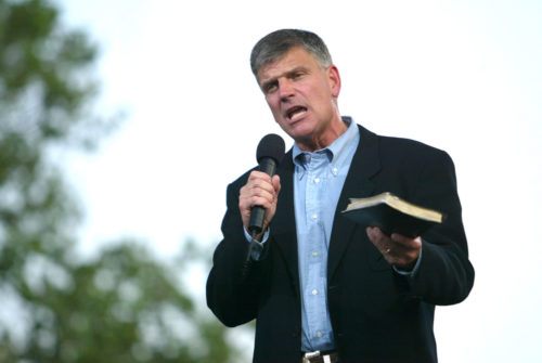 Franklin Graham speaks on the second night of the Billy Graham Crusade at Flushing Meadows Corona Park on June 25, 2005 in Flushing, New York.