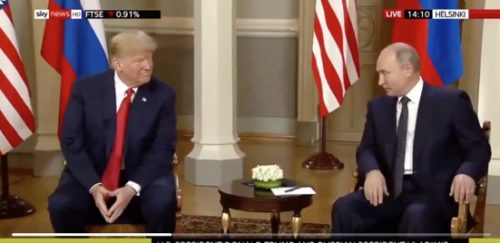 American President Donald Trump winks at Russian President Vladimir Putin during a press conference.
