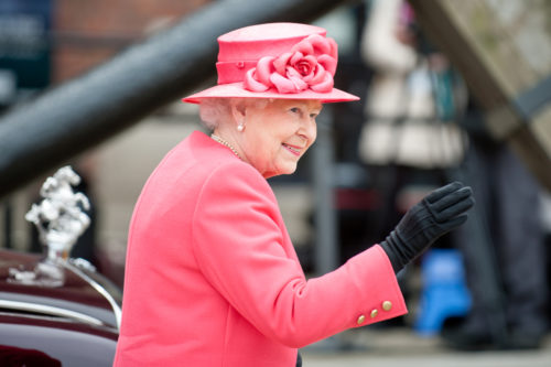 MAY 17 2012: Her Royal Highness Queen Elizabeth II visits Liverpool Albert Dock during her Diamond Jubilee tour of Great Britain, Liverpool, England.