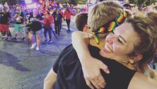 """Jen Hatmaker gives a """"mom hug"""" at Austin Pride"""