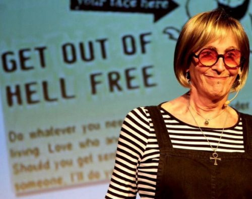 "Kate Bornstein on stage performing during ""On Men, Women, and the Rest of Us"" at La Mama theater."