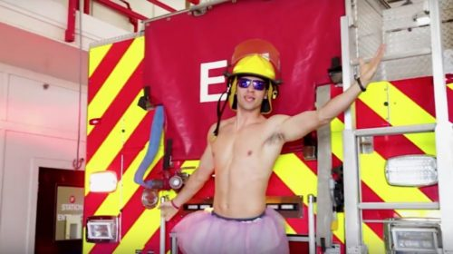 "Paris, TX firefighter Chase Reynolds performs ""Barbie Girl"" as part of a lip synch video."