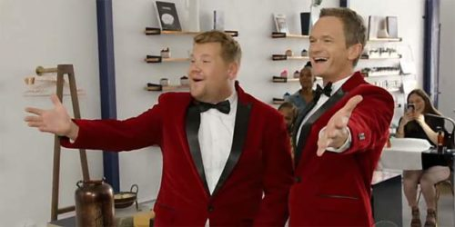 James Corden and Neil Patrick Harris deliver singing telegrams.