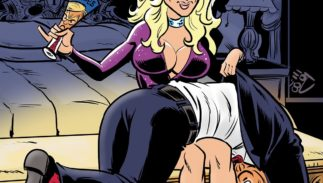 """Stormy Daniels spanks Donald Trump on the cover of the new comic book """"Political Power: Stormy Daniels."""""""