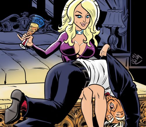 "Stormy Daniels spanks Donald Trump on the cover of the new comic book ""Political Power: Stormy Daniels."""