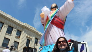 """A """"gay Jesus"""" balloon will greet hate preacher Rev Franklin Graham when he visits Blackpool England."""