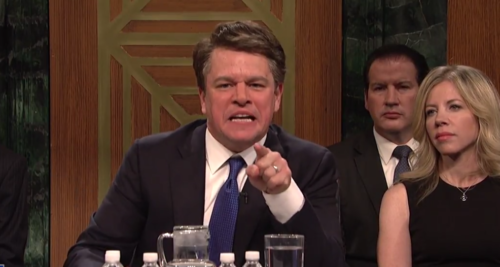 Matt Damon portraying Brett Kavanaugh on Saturday Night Live