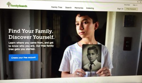 The front page of FamilySearch.com