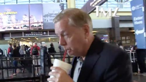 Republican Senator Lindsey Graham denying that he is gay to a reporter in Washington National Airport.