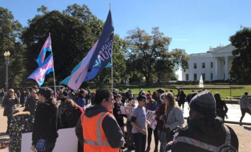 "Activists protest outside the White House after news leaks that the administration is considering radically redefining the definition of ""gender"" to erase transgender people out of civil rights law."