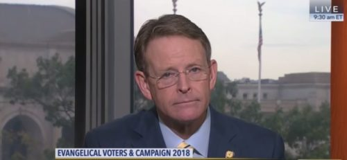 Tony Perkins listens to a C-SPAN caller castigate him for abandoning Christian values for political power.