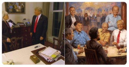 Eagle eyed viewers noticed a truly hideous photo of President Donald Trump hanging out with former Republican presidents in the White House during Leslia Stah's interview.