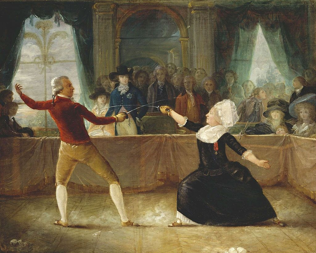 The Chevalier d'Éon and Monsieur de Saint-George depicted during a dueling match in 1787, painted by Alexandre-Auguste Robineau