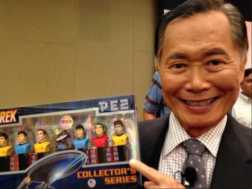 George Takei with Pez dispensers