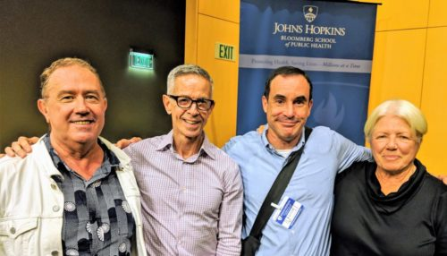 Original ACT UP activists Mark Harrington, Peter Staley, Gregg Gonsalves, and Ann Northrup at the Johns Hopkins Bloomberg School of Public Health on October 11, 2018.